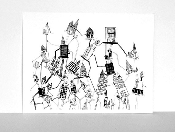 Toppling City in Black and White - Print Made from my Original Ink Pen Drawing, Size 8x10