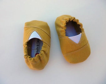 Mustard Yellow Toms Inspired Baby Shoes/Moccs - Size 0-18 Months