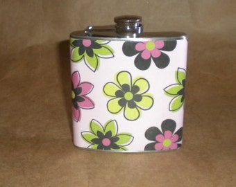 SALE Flask Price Reduced Diva Flowers Print 6 ounce Stainless Steel Girly Gift Flask KR2D 7106