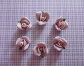 Sweet Purple Ceramic Rose Flower Flat Back 11mm Cabochons with Pink Center and Green Leaf - Qty 6