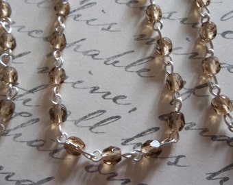 Bead Chain Smoke Topaz 4mm Fire Polished Glass Beads on Silver Beaded Chain - Qty 18 inch strand