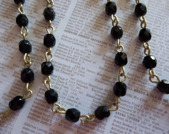 Bead Chain Rosary Chain Jet Black 4mm Fire Polished Glass Beads on Brass Beaded Chain - Qty 18 Inch strand
