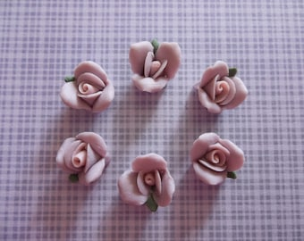 11mm Purple Ceramic Roses - Flower Cameos - Green Leaf - Pink Center - Flat Back Cabochons - Qty 6