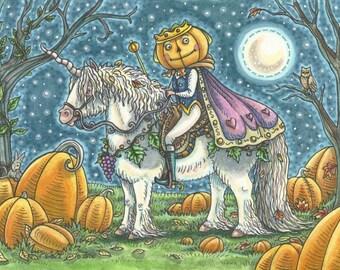 PUMPKIN PRINCE Unicorn Jack O Lanterns Original Halloween Art Susan Brack Whoa Team EHAG