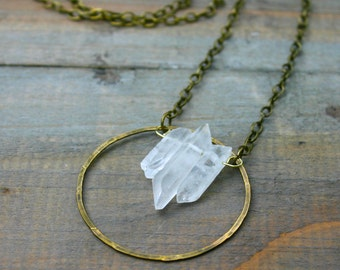 Triple Quartz Point and Brass Circle Necklace