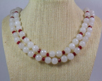 White Quartz and Ruby Double Stranded Necklace
