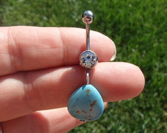 Turquoise Stone Belly Button Ring