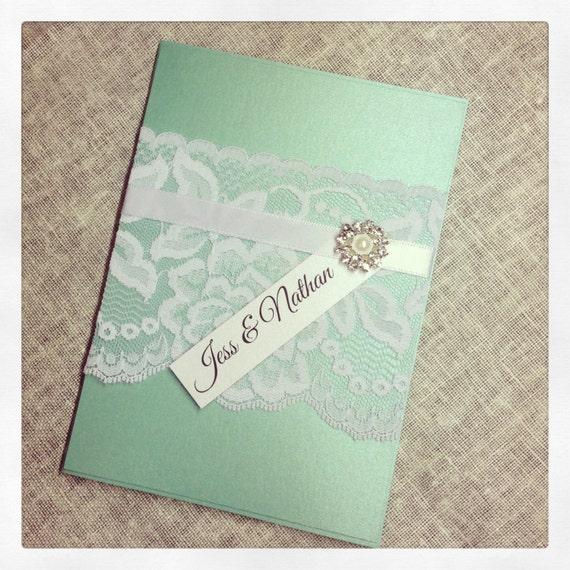 sample mint green vintage lace wedding invitation sample With wedding invitation sample mint green