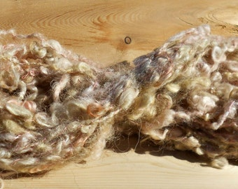 Handspun Hand Dyed Cotswold Pink and Brown Yarn: Woodland Sprite VI