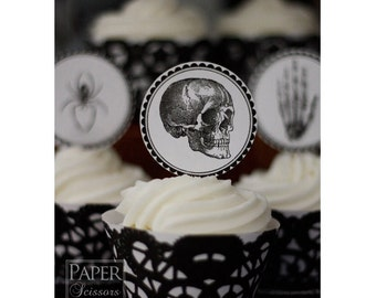 Spooky Stuff Printable Cupcake Topper And Wrapper Set- Simply Print, Cut, Assemble, Enjoy