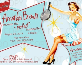 Printable DIY Retro Housewife Vintage Pin Up Girl Theme Bridal Shower Party Invitations