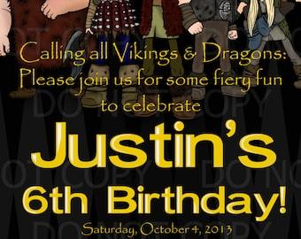 Printable DIY Dragon Viking Party Invitation