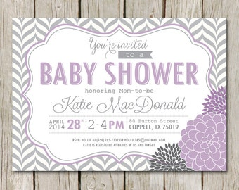 Purple BABY SHOWER Invitation - Purple Gray Chevron - Dahlia Mum Flowers - BS8