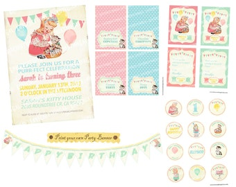 Digital PRINTABLE Vintage Baby Girl Kitty Cats Daughter Princess Celebrate Birthday Tea Party Friend Banner Invitation Label Card Tag PP22