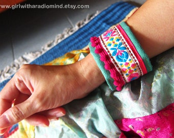 Boho Jewelry Cuff Band - Indie Folk Wristband Flower Embroidery Trims with Pink Pompom - Pink & Sea Green