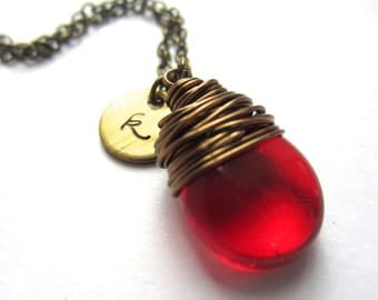 Ruby Red Initial Necklace Valentines Gift Wire Wrapped Pendant July Birthstone Necklace Initial Jewelry Wire Wrapped Jewelry Handmade