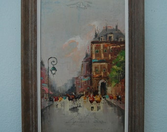1960s Mid Century Modern Oil Painting - City Street Scene - Rouget