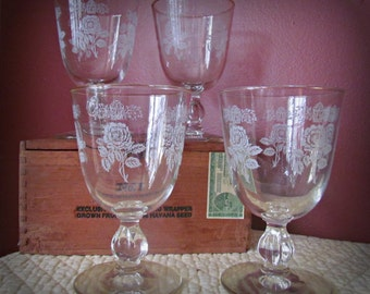 Vintage Hand Painted Wine Goblets.. Set of Four.