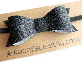 Black Glitter Bow Headband - One Size Fits All 6m+ - Baby Toddler Child Teen Adult