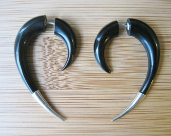 FAUX GUAGED Earrings!  Hand carved HORN with metal spike detail, for regular piercings!