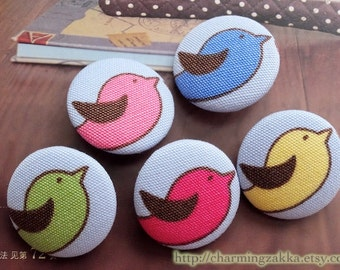SALE Fabric Covered Buttons Flat Back Magnet (L) - Multi Color Rainbow Flying Birds, Choose Color (5Pcs, 1.1 Inch)