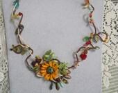 OOAK Autumn Sunflower Necklace