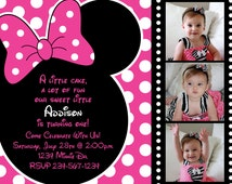Pink and Black Polka Dot Minnie Mouse Invitation OR Thank you Card (Black and White Polka Dot Reel Frame) Three Photo Option