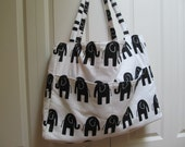 Charlotte:  Extra Large Tote, Black and White Fabric, Elephants, Knitting Bag, Needlepoint, Carry-on, Travel