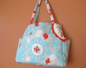 Tina1422  Beautiful Expanding Project, Knitting, Diaper, Travel Bag is Fresh Red, Turquoise, Light Gray and White.