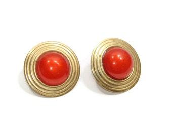 Vintage Blood Orange and Gold Circle Earrings