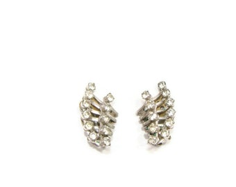 Vintage Silver RhineStone Clip On Earrings