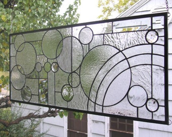 """Arts and Crafts Style Circle Study--12"""" x 28""""--Stained Glass Window Panel"""