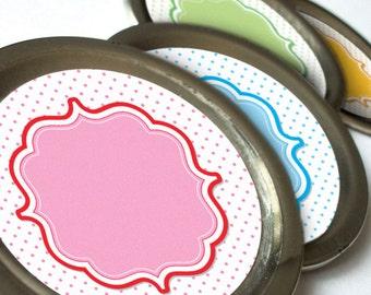 Pastel Dots canning jar labels, cute round mason jar labels for fruit and vegetable preservation, jam jelly jar labels, baby showers favors