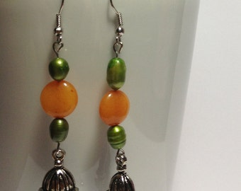Orange and Green Caged Bird Earrings