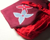 Burgandy and red pleated small clutch purse with painted gray and red flowers