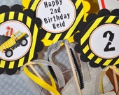 3 Construction Birthday Centerpiece Sticks - Construction Birthday Decorations - Dump Truck Birthday Party