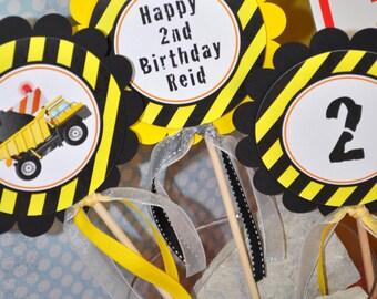 Construction Birthday Centerpiece Sticks - Construction Birthday Decorations - Dump Truck Birthday Party - Set of 3