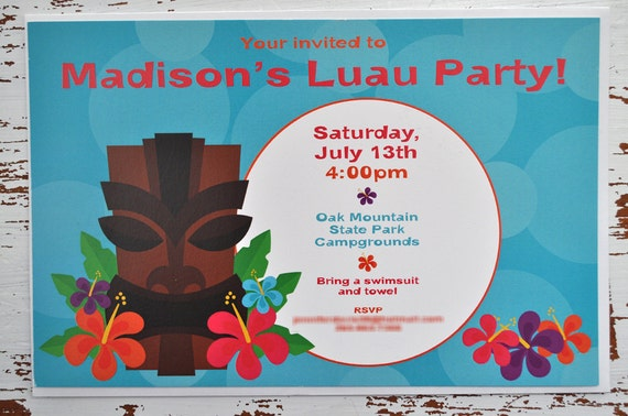 Luau Birthday Party Invitations Hawaiian Luau Birthday Decorations