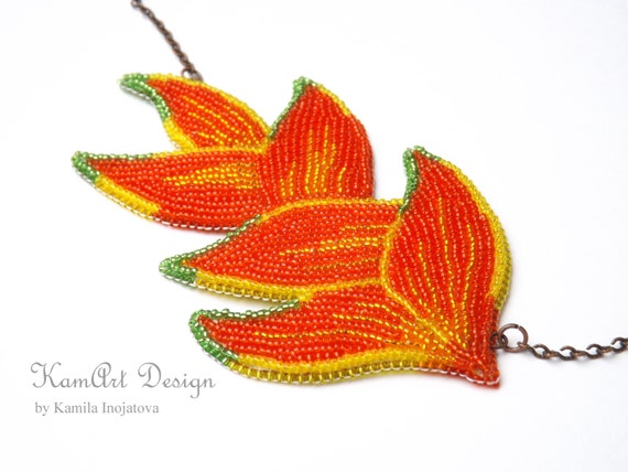 Bead embroidery necklace, tillandsia flower pendant beadwork, red floral statement, handmade