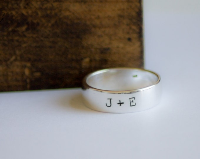 Couples Initials Ring - Sterling Silver - Wedding - Hand Stamped - Personalized Custom Stamped by Betsy Farmer Designs