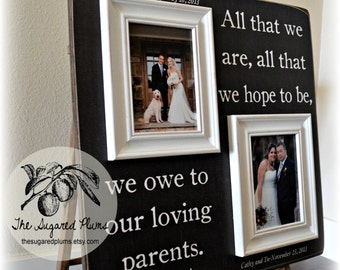 Parents Thank You Gift, Parents Thank you Wedding Gift, Mother of the Bride, Father of the Bride, Siblings 20x20 All That We Are