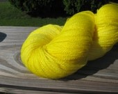 SALE Hand Dyed Superwash Merino Lace Weight Yarn, Lemon Colorway, 980 Yards