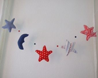 Stars Moon Garland Red White Blue Mix & Match Fabrics Hangs Horizontally