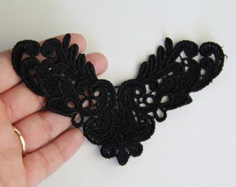 Black Venise Lace Applique Bridal