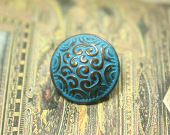 Metal Buttons - Cirrus Metal Buttons , Copper Blue Color , Domed , Shank , 0.59 inch , 10 pcs