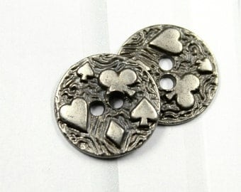 Metal Buttons - Clubs Diamonds Hearts and Spades Metal Buttons , Nickel Silver Color , 4 Holes , 0.59 inch , 10 pcs
