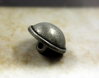 Metal Buttons - Domed Metal Buttons , Antiqued Silver Color , Shank , 0.59 inch , 10 pcs