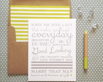 Marry that Man Anniversary Card- white folded A2 greeting card with lined kraft brown envelope included