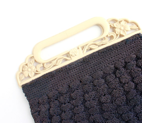 SALE - Vintage Blue Art Deco Purse - 1930s 1940s Crochet Purse with Early Plastic Ivory Handle / Hand Woven