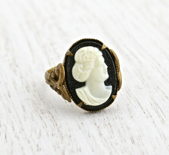 Vintage Brass Filigree Cameo Czech Ring Antique Victorian